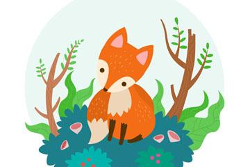 可爱森林狐狸设计矢量素材