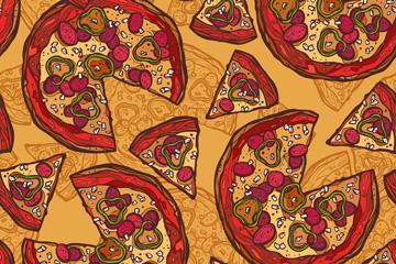 彩绘美味披萨无缝背景矢量图