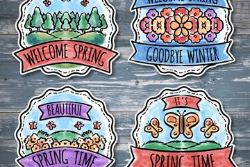 4款彩绘春季标签矢量素材