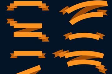8款橙色丝带条幅矢量素材