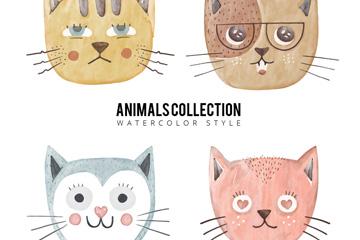 4款彩绘猫咪头像矢量素材