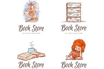 4款水彩绘书店标志矢量素材