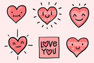 8款可爱表情爱心矢量素材