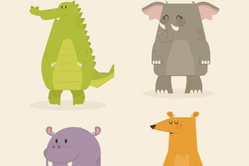 4款彩色站姿动物矢量素材