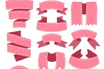 12款粉色丝带条幅矢量素材