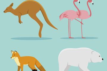 5款创意野生动物侧面矢量素材