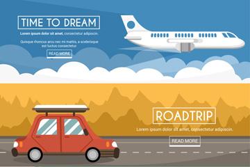 3款创意旅行方式banner矢量图