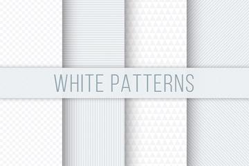 8款白色花纹无缝背景矢量素材