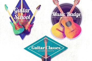 3款水彩绘吉他元素标签矢量素材