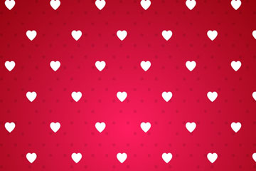 红底白色爱心无缝背景矢量图