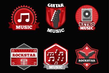 6款红色音乐元素标签矢量素材