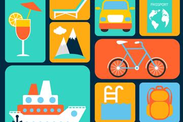 15款彩色旅行图标矢量素材