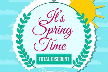 彩色春季花环促销标签矢量素材