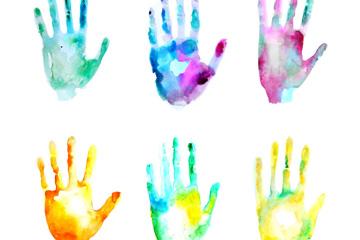 6款水彩�L混色手印矢量素材