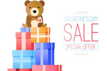 可爱熊和礼盒情人节促销海报矢量