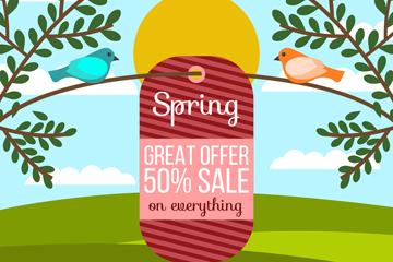 春季�渲�和�B促�N吊牌矢量�D