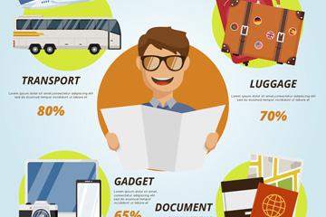 创意男子旅行信息图矢量素材