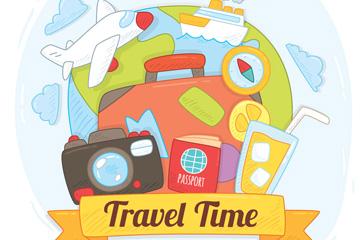 彩绘旅行时间旅行元素矢量图