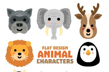 8款可爱动物头像矢量素材