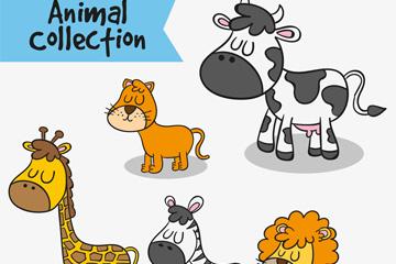 5款彩绘闭眼睛的动物矢量素材
