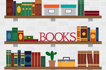 扁平化摆满书籍的书架矢量图