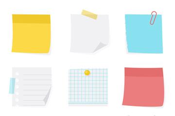 9款彩色空白便利贴矢量素材