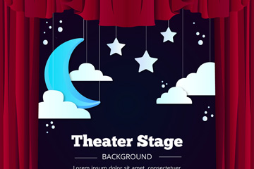 创意星星月亮和舞台幕布矢量图
