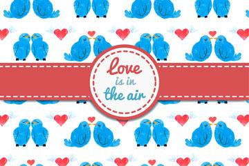 蓝色情侣鸟无缝背景矢量图