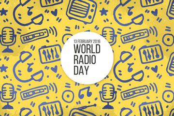 彩绘世界广播日广播元素矢量素材