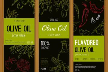 3款彩绘橄榄油banner矢量素材