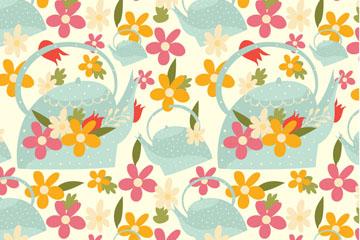 彩色花卉和洒水壶无缝背景矢量图