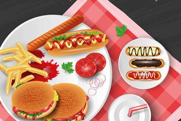 创意餐布上的2盘快餐食物矢量图