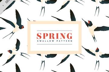 彩绘春季燕子无缝背景矢量图