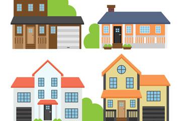 4款彩色私人住宅矢量素材