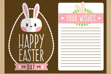 可爱兔子头像复活节祝福卡矢量图