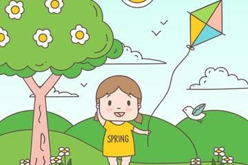 春季郊外放�L�~的�和�矢量�D