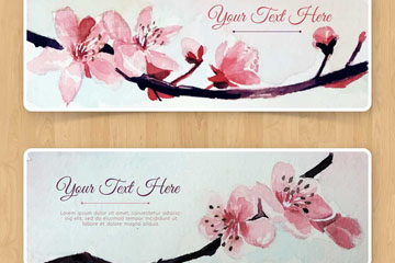 2款水彩绘粉色樱花banner矢量图