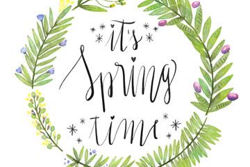 绿色花环装饰春季艺术字矢量图