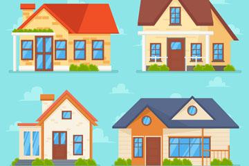 4款彩色私人住宅�O�矢量�D
