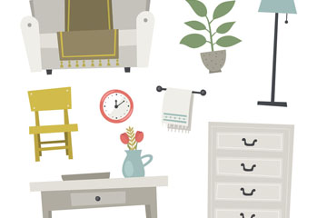 9款素雅家具和�[件�O�矢量素材