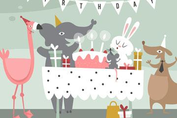可爱动物生日派对矢量素材