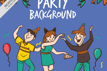 3个生日派对儿童矢量素材