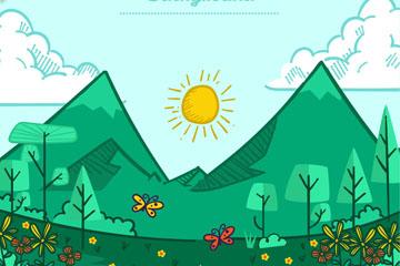彩绘春季郊外山和树林风景矢量素