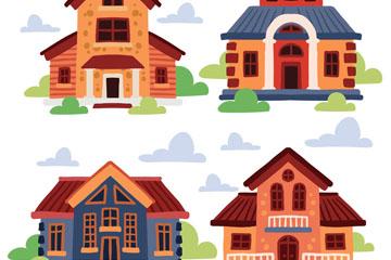 4款彩�L私人住宅矢量素材