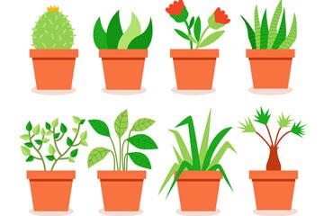 8款绿色盆栽设计矢量素材