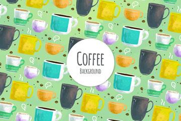 水彩绘咖啡杯无缝背景矢量图