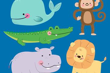 5款可爱笑脸野生动物矢量素材