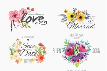 6款水彩绘婚礼花卉标签矢量图