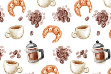 水彩绘咖啡和牛角面包无缝背景矢