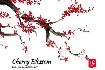 彩绘红色樱花矢量素材